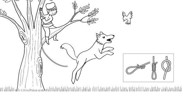 Ausmalbild Märchen: Peter und der Wolf zum Ausmalen
