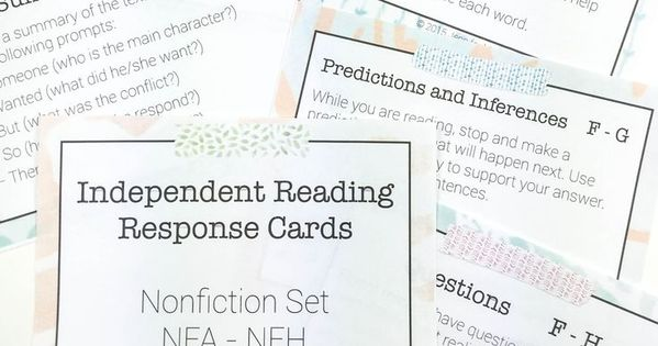 Independent Reading Response Task Cards with Response