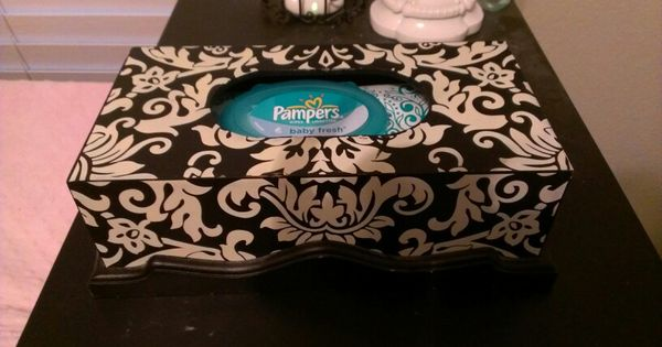 Decorative baby wipe dispenser  wooden tissue box placed