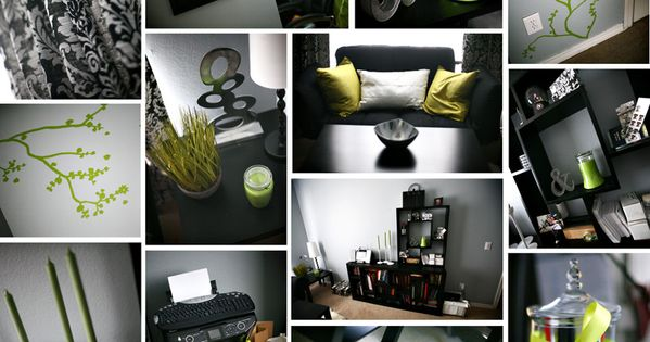 lime green black and white damask office home decor DIY
