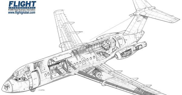 British Aircraft Corporation 1-11-475 cutaway drawing