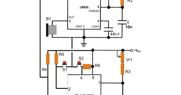 Simple IC 555 Eng Timer with Buzzer Circuit Diagram