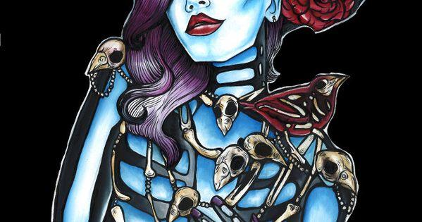 Zombie Skeleton Pin Up Girl Tattoo