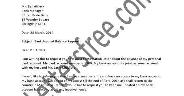 Balance Confirmation Letter Format For The Auditors And