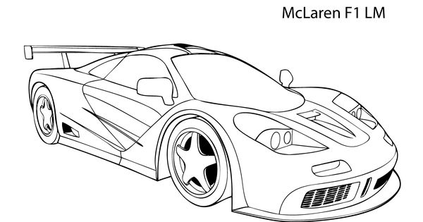 Super car McLaren F1 LM coloring page, cool car printable