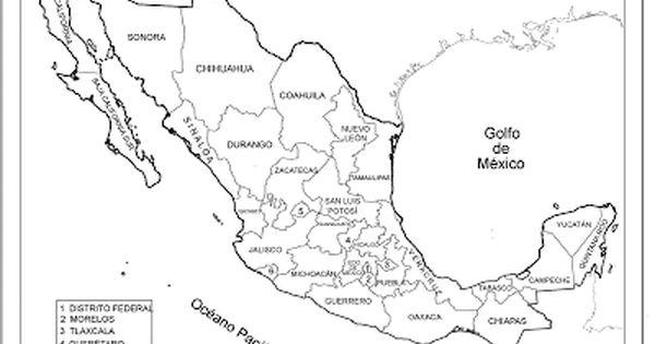 Mapa Republica Mexicana con nombres, División política