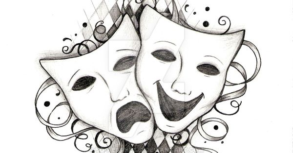 Drama masks! Tattoo design I did for someone who requested