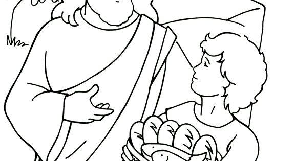 Jesus Feeds The Five Thousand Coloring Page Coloring Pages