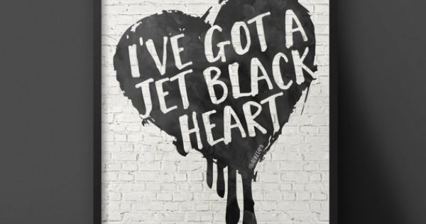 5SOS Jet Black Heart Poster INSTANT DOWNLOAD By