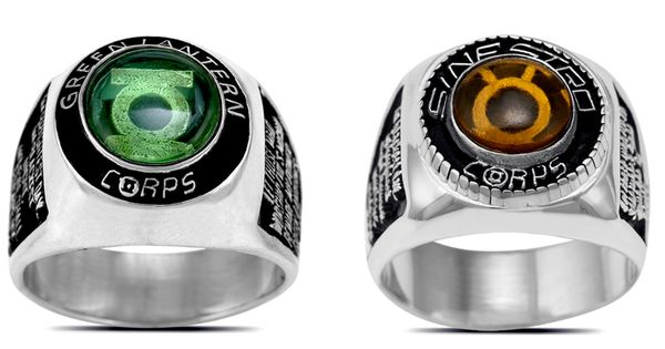 Silver Green Lantern And Sinestro Corps Rings With