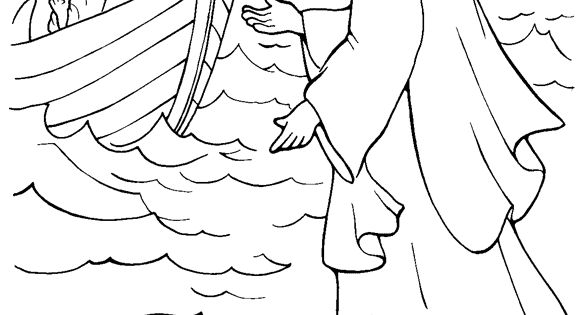 Jesus Walks on Water Coloring Page Could use with http