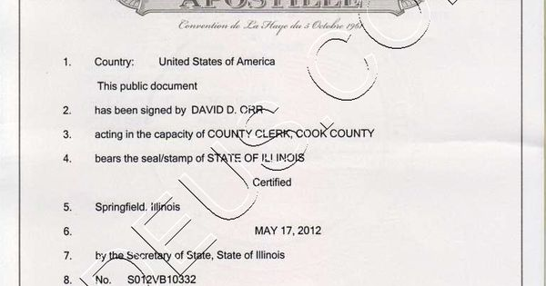 Illinois apostille. The following documents are acceptable