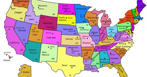 Map Of United States Capitals DIY United States Magnets
