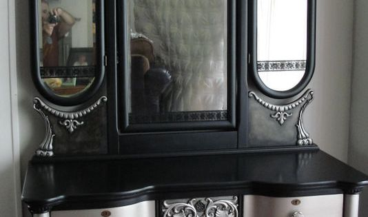 Victorian Gothic Antique Vanity with TriFold Mirror
