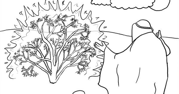Burning bush, School coloring pages and Sunday school