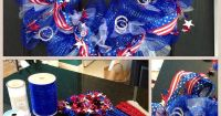 4th of July DIY wreath. Michaels: blue deco mesh, wire ...