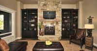 Stone Fireplace with wooden side cupboards | Dream Home ...