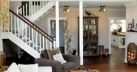 Living room with loft overlooking it - neutrals and ...