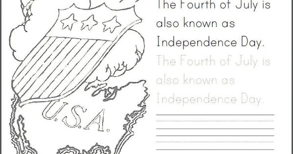 Fourth of July-Independence Day Coloring Sheet with