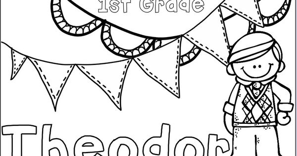 First day of school name coloring pages, editable! https