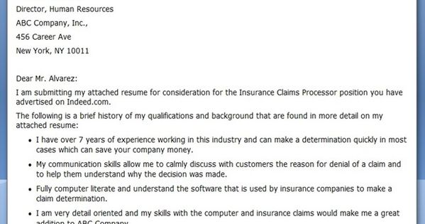 Insurance Claims Processor Cover Letter Sample  Creative Resume Design Templates Word