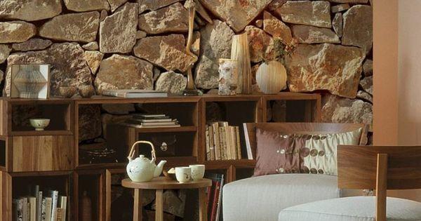 steinoptik wand dekosteine wand steinwand im wohnzimmer  Einrichtung und sowat  Pinterest