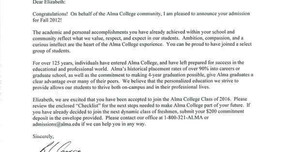 college admission acceptance letter  Google Search  Work stuff  Pinterest  School template