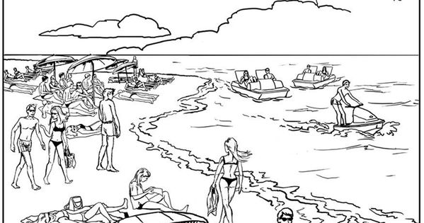 Summer time ! Coloring sheet of a crowded beach, From the