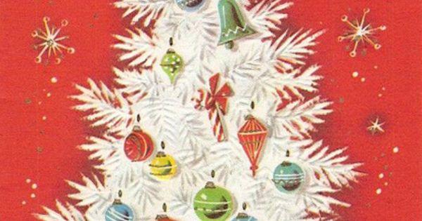 Vintage White Tree Christmas Card Retro Also See