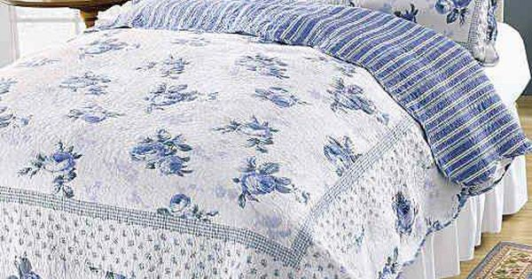 King Quilt Set Cottage Romantic Chic Shabby Blossom Blue