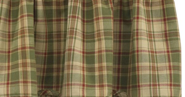 country curtains  BJS Country Charm  Sage Green Plaid