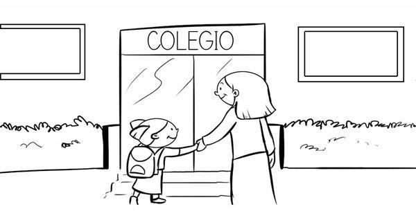 Dibujo para colorear. Una niña entrando al colegio con su