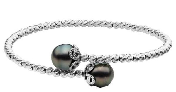 Black Tahitian Pearl 9-10mm Bracelet with Sparkle Beads in