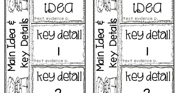 Main Topic/Idea & Key Details Graphic Organizers, Anchor