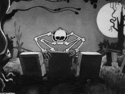 Falling Weed Wallpaper Graveyard Skeleton Black And White Vintage Scary Movie