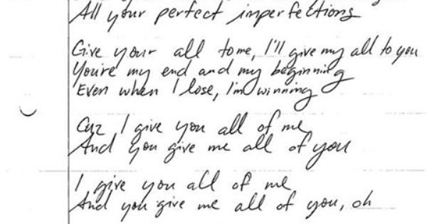 John Legend wrote out the lyrics to his new single #