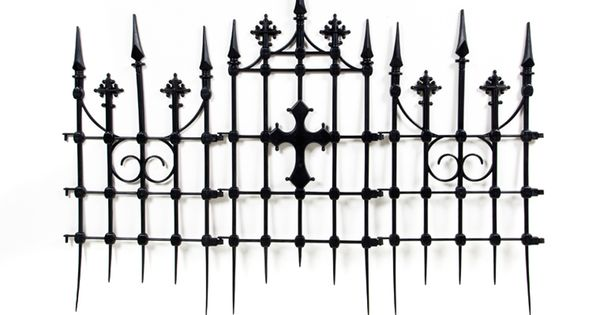 The Gothic Cemetery Cross Fence set includes 3 fence