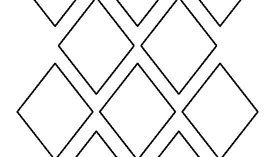 3 inch diamond pattern. Use the printable outline for