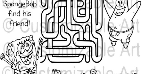 Cartoon SpongeBob Maze Coloring Page Printable by