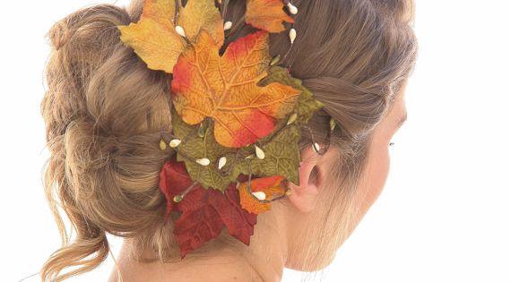 Big Fall Leaves Hair Comb Fall Wedding Headpiece Autumn