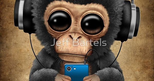 Cute Puppy Wallpapers For Iphone Chimpanzee Dj With Headphones And Cell Phone Jeff