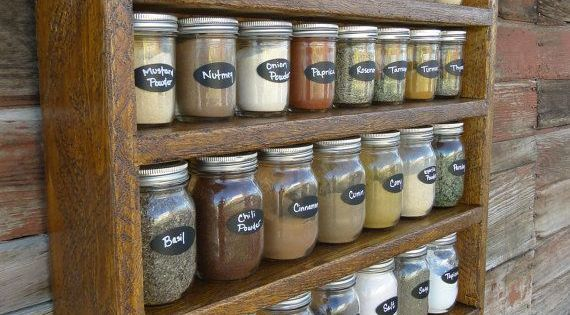 pull out shelves for kitchen martha stewart cabinets rustic roughsawn 30 mason jar spice rack by ...