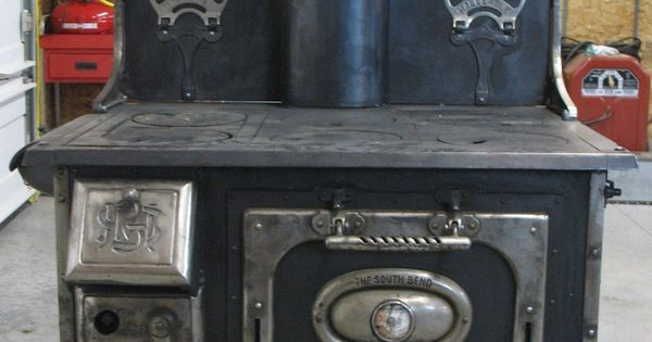 Old Antique SOUTH BEND MALLEABLE Wood Cook Stove Black Model 818  Models Black models and Stove
