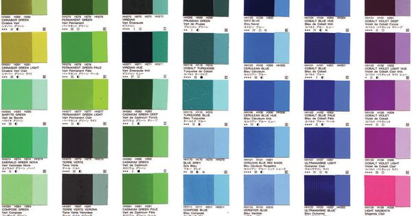 Holbein oil colour chart | Art: Supplies | Pinterest | Colour chart. Oil and Paintings