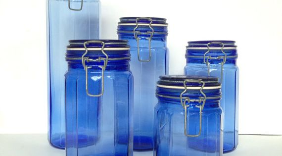 fruit decor for kitchen apartment size table vintage cobalt blue glass canisters - 5 piece set ...