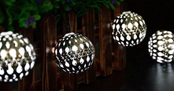 LederTEK Solar Powered Moroccan Globe String Lights 10 LED 1299 11ft Fairy Christmas Metal