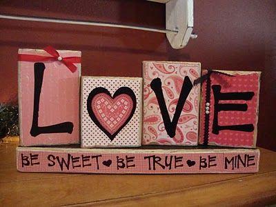 DIY Vday blocks scrapbook paper wood blocks letters