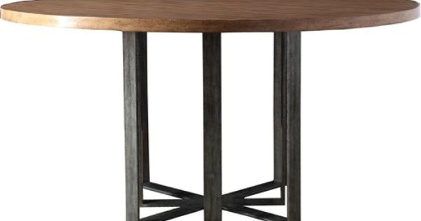 saloom kitchen tables corner sinks for sale leeward coastal round wood dining table with solid iron ...