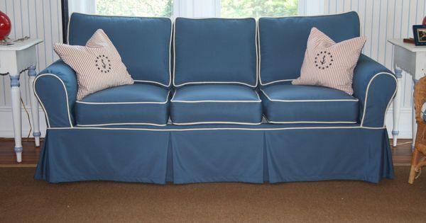 Sofa Slipcover Using Sunbrella Sapphire Blue With Vellum