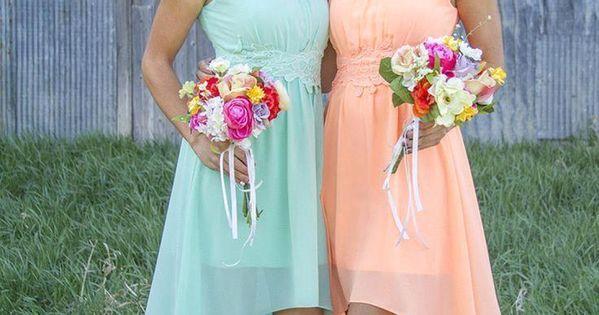 2016 Coral Hi Lo Short Bridesmaid Dresses Cheap Under 100